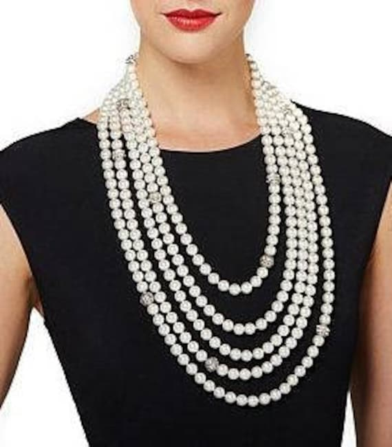 Audrey Hepburn Pearl Necklace - Multi Strand 25.5