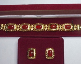 Jackie Kennedy JEWELRY SET - Gold with Carnelian -  Bracelet and Studs - for Courage