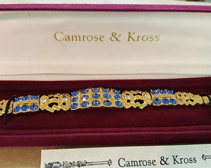 Jackie Kennedy Sapphire Bracelet - Gold Bracelet with Blue Stones. Size 7 or 8 - 87