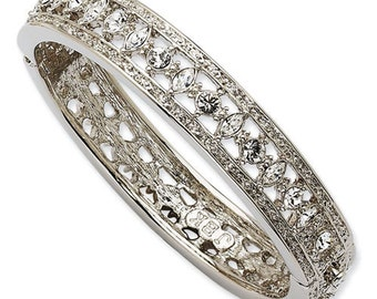 Jackie Kennedy Engagement Bracelet Silver with Faux Diamonds - #127
