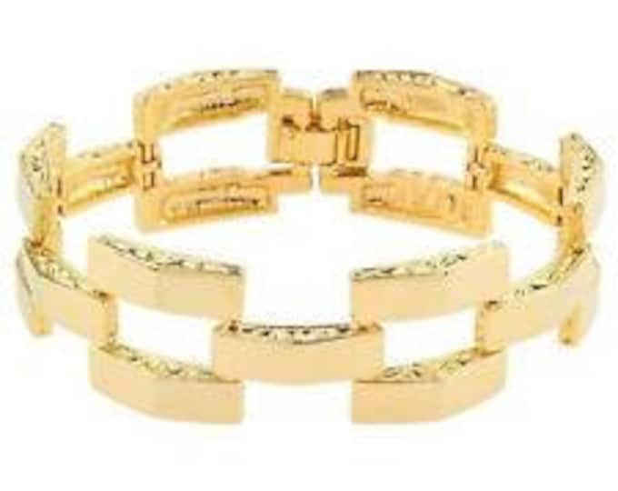 Jackie Kennedy Pyramid Bracelet - Gold Plated Link Bracelet - No. 263