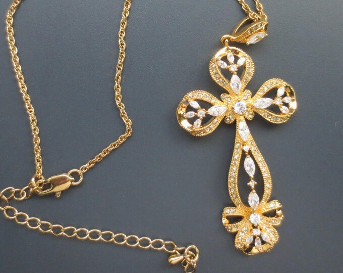 Jackie Kennedy Bow Cross Necklace - Gold Plated Necklace with Stones