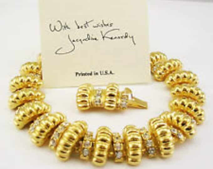 Jackie Kennedy Signature Bracelet - Gold Bracelet with Clear Stones - #63