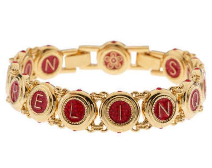 Jackie Kennedy Love Bracelet - Gold Plated, Red Enamel Sizes 7-8 - #78