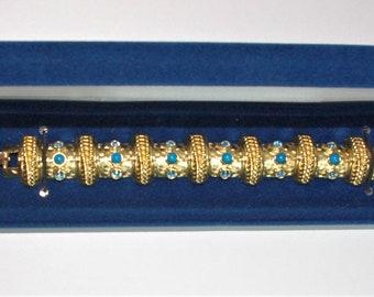RARE Jackie Kennedy Bracelet - Gold Bracelet with Blue Stones - No. 293