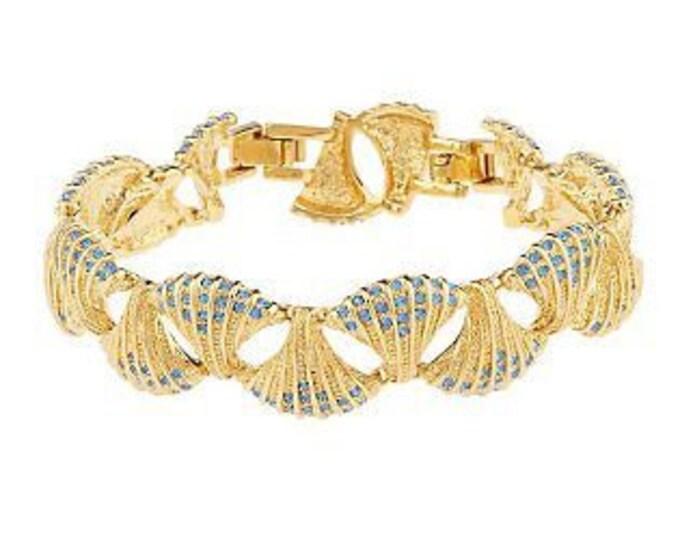 Jackie Kennedy Gold Bracelet - Shell Bracelet with Blue Stones - Size 7 or 8 - No.  99