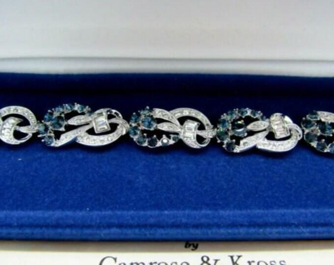 Jackie Kennedy Bracelet - Silver with Blue Stones - Size 7 - 115 -