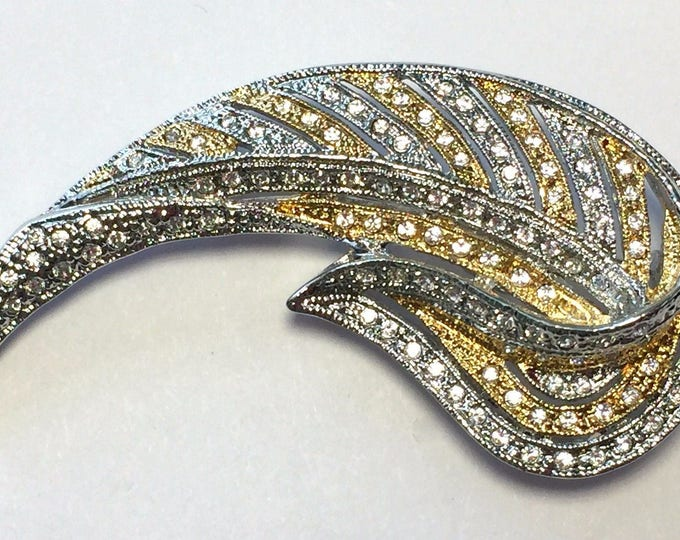 Jackie Kennedy Brooch - Gold and Silver Pin - Two Tone Pin - Crystal Pin - Winged Victory Pin - 34