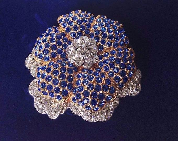 Jackie Kennedy Empress Brooch, Blue Flower Crystal Pin - No. 39