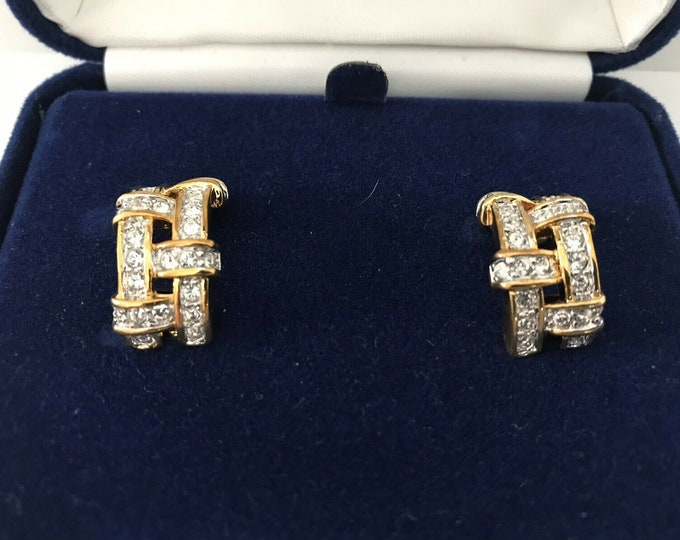 Jackie Kennedy Crystal Earrings - Gold Clip On Earrings with Stones - #180