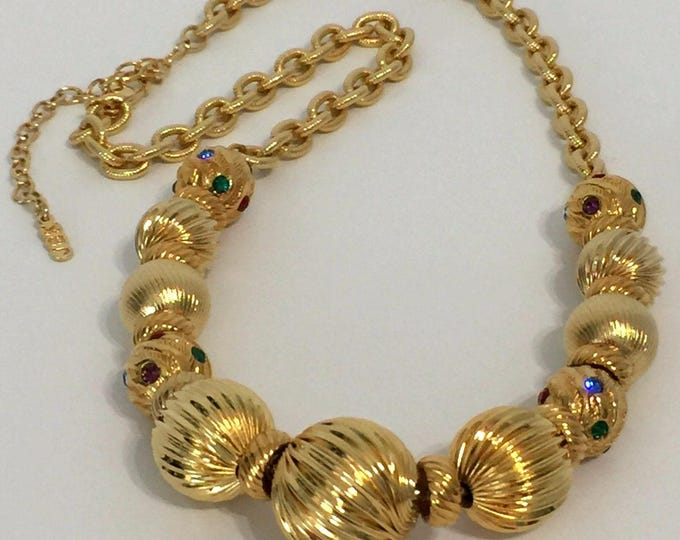 Jackie Kennedy Ball Necklace, Large Gold Beads with Stones - 337