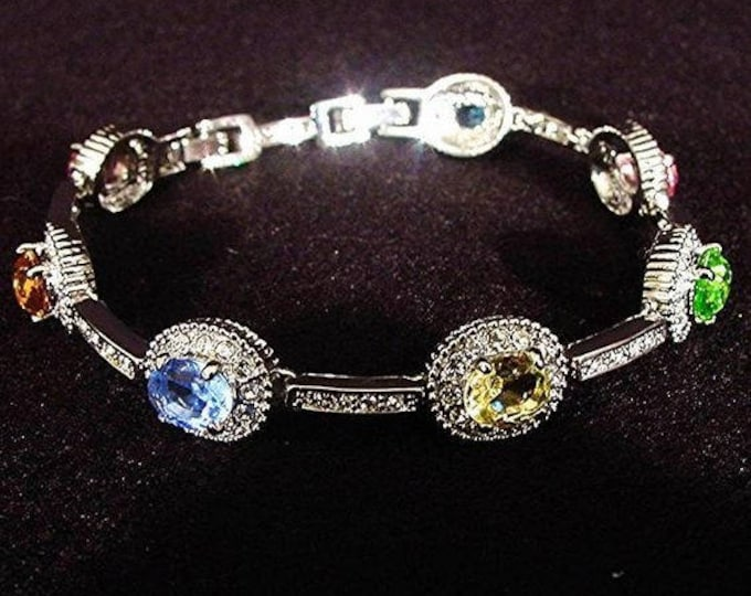 RARE Jackie Kennedy Silver Bracelet with Multi Colored Stones, Size 7 or 8 - 171