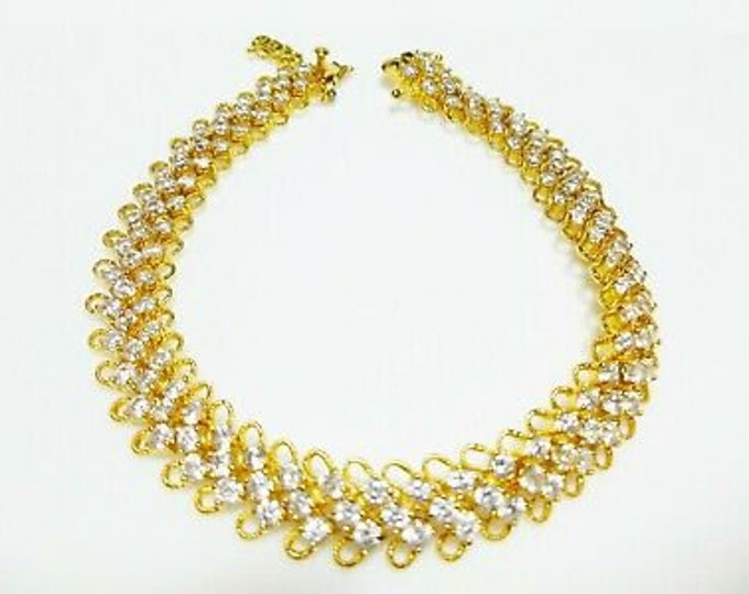 Jackie Kennedy Tennis Bracelet Gold with Crystals - #108