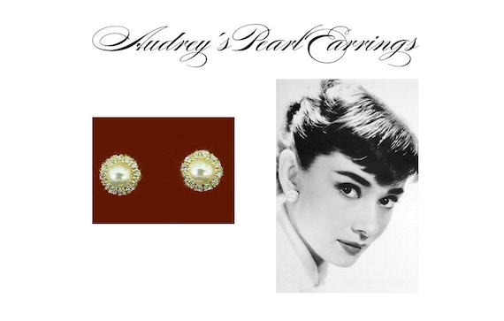 Audrey Hepburn Earrings - Pearl with Crystals - Cl