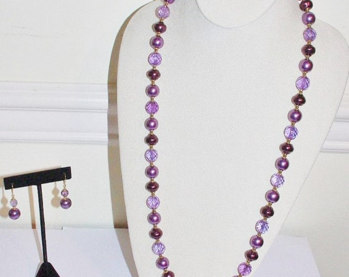 Joan Rivers  Purple Jewelry Set with Beaded Necklace, Bracelet and Earrings - S705