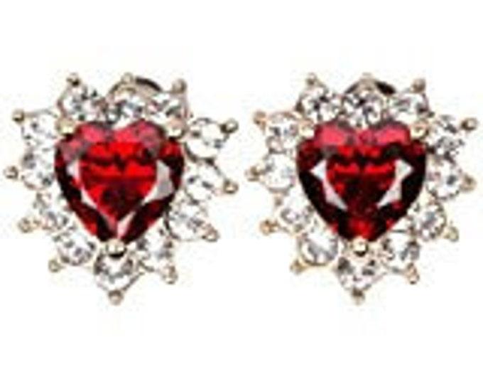 Grace Kelly Red Heart Earrings - Silver Pierced Earrings with Stones
