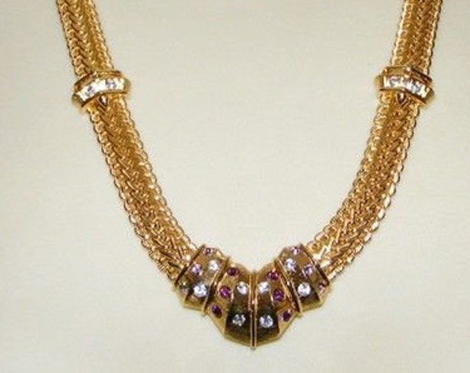 Jackie Kennedy Wheat Necklace - Gold with Stones  #210