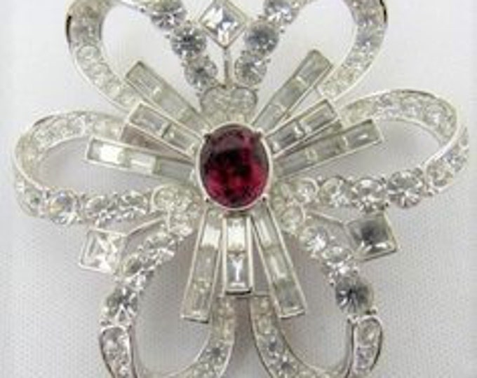 Nolan Miller Crystal Brooch - Bow Pin with Red Accent Stone - S2438