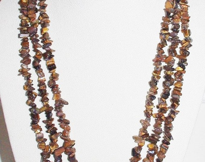 Tigers Eye Natural Gemstone Necklace - S2354