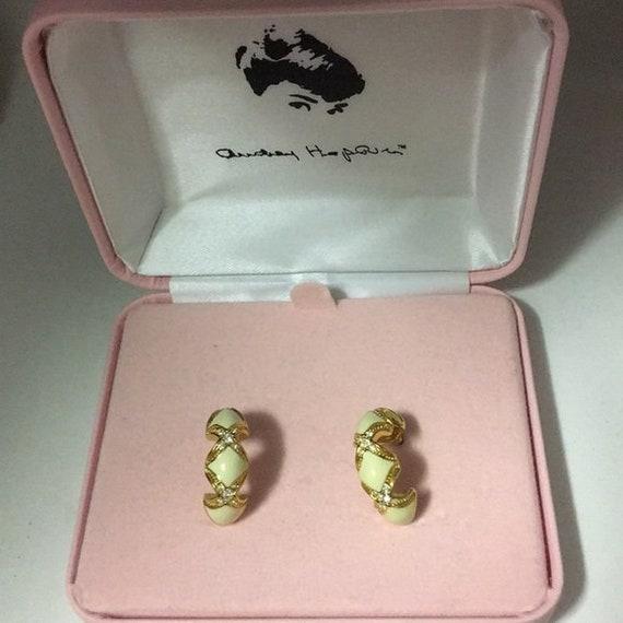 Audrey Hepburn Earrings - Enameled, Crystal with G