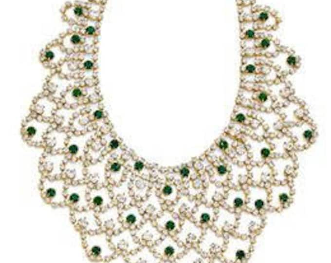 Jackie Kennedy Simulated Emerald Bib Necklace with Box and COA