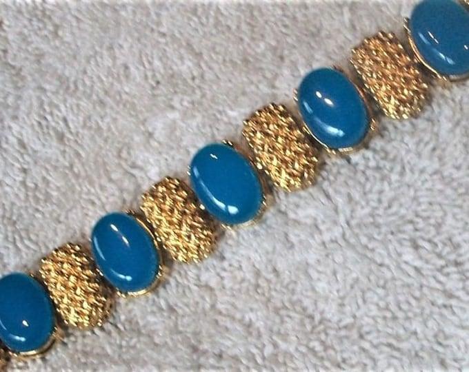Nolan Miller Gold Bracelet with Blue Stones - Size 7 - S2141