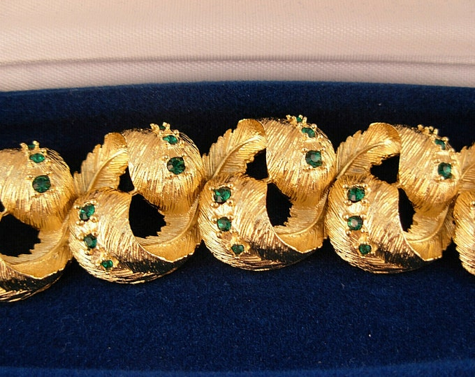 SET Jackie Kennedy Windsor Bracelet and Earrings - Gold with Stones