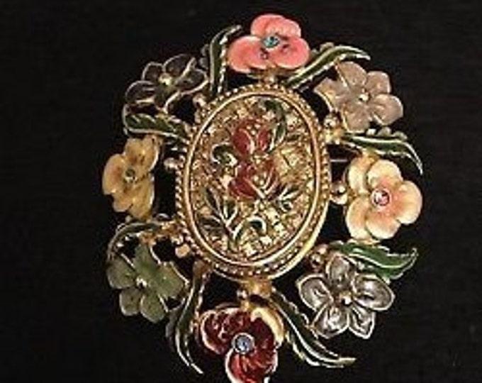 Joan Rivers Flower Pin Pendant - Enamel Garden Pin Pendant  - S3113