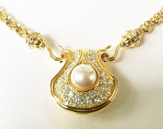 Nolan Miller Gold Necklace with Reversible Pearl Pendant - S1972