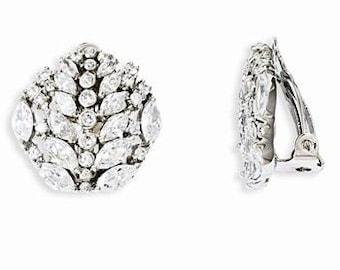 Jackie Kennedy Crystal Earrings,  Silver Clip on  - 23