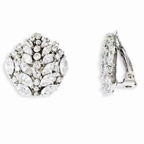 Jackie Kennedy Earrings Crystal in Silver with Certificate 23