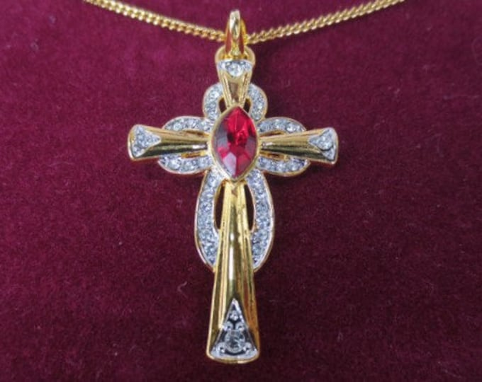 Jackie Kennedy Ruby Necklace -  Celtic Cross, Gold Plated Necklace with Stones