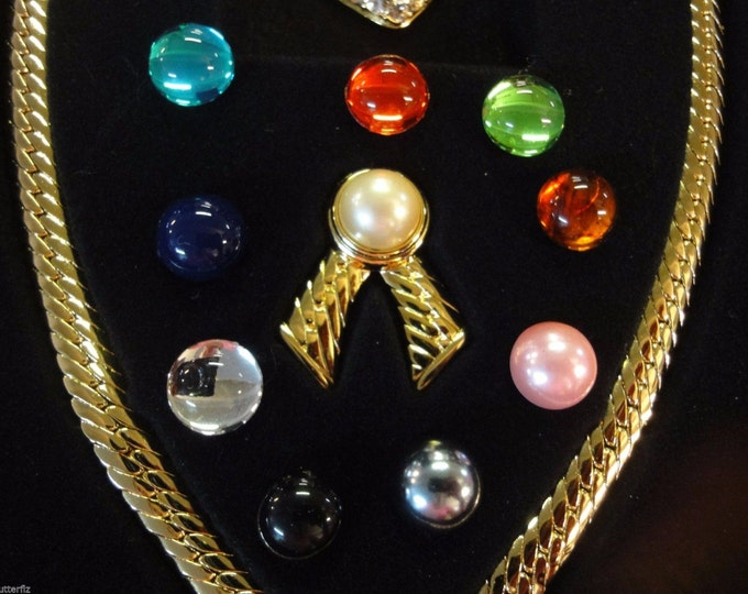 Joan Rivers Necklace - Gold with 10 Inserts - S1799