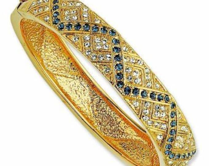 Jackie Kennedy Zig Zag Bracelet - Gold with Stones - Sizes 6.5 to 7.5 - 124