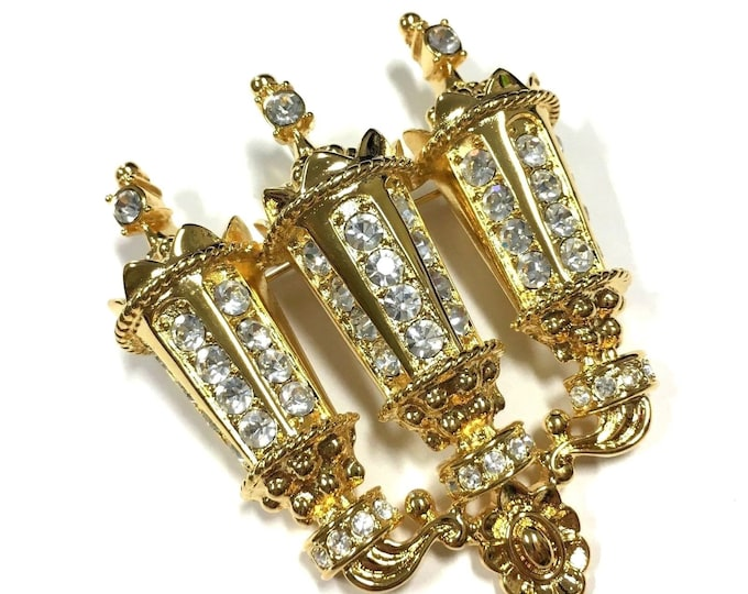 Kenneth Lane Lantern Pin Pendant - Gold with Crystals - S2433