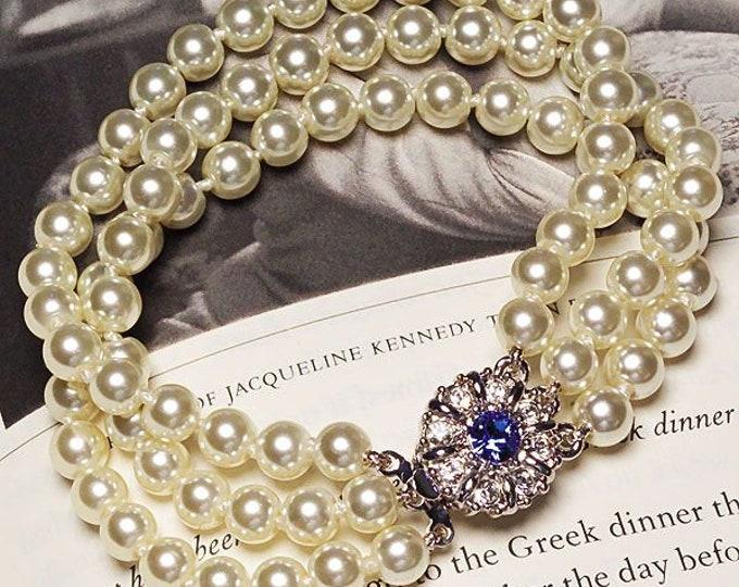 Jackie Kennedy Pearl Bracelet with Sapphire Clasp -Multi-strand Beaded Bracelet - 61