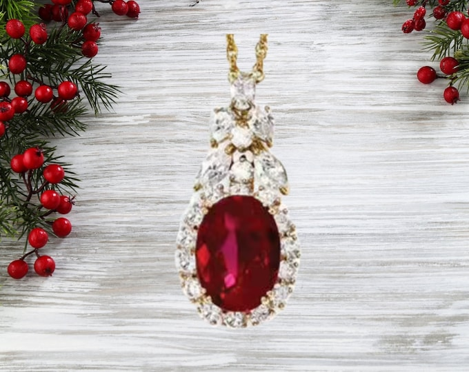 Jackie Kennedy Ruby Necklace, Gold Plated with Stones - #221