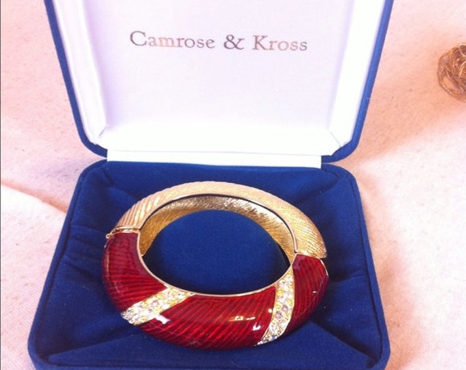 Jackie Kennedy Bangle Bracelet -  Red and Gold with Clear Stones -  #133