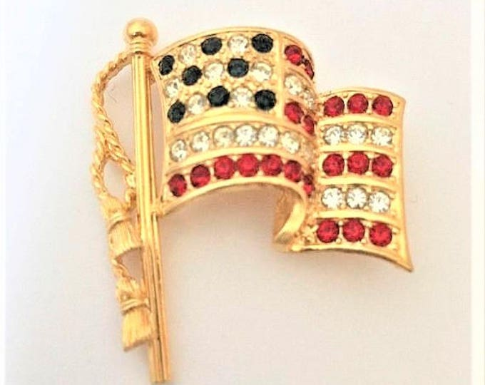 """Napier Flag Pin - Gold Tone with Crystals - 2.75"""" x 1.5"""" - S2230"""