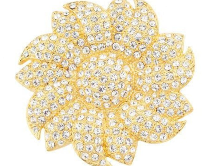 Jackie Kennedy Crystal Brooch - Gold Sunflower Pin - 35