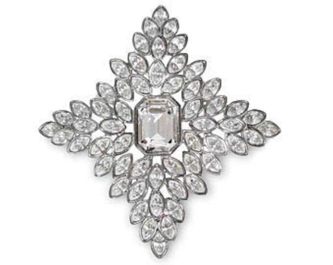 RARE Jackie Kennedy Crystal Brooch - Large Crystal Pin by Kenneth Lane - Silver and Crystal Pin - S2259