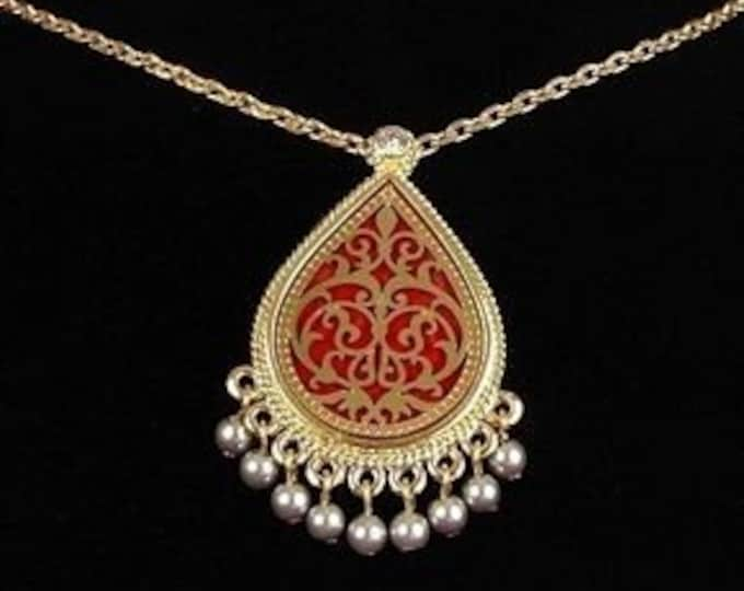 Jackie Kennedy Moroccan Necklace - Red Pin / Pendant Necklace - No.308 tms1