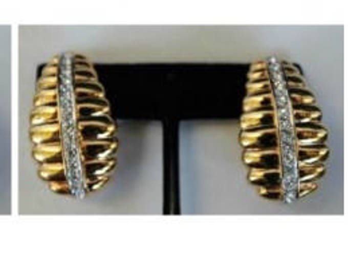 Nolan Miller Gold Earrings with Crystals - Clip On - S2060