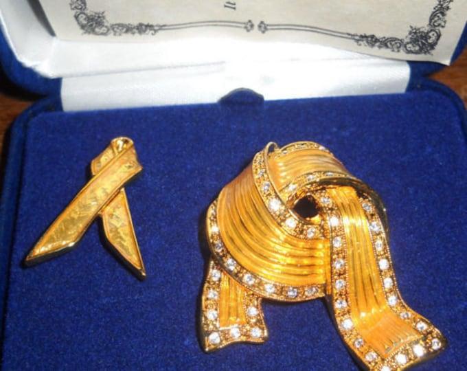 Jackie Kennedy Pin Set - Yellow Ribbon Pins with Crystals - 38