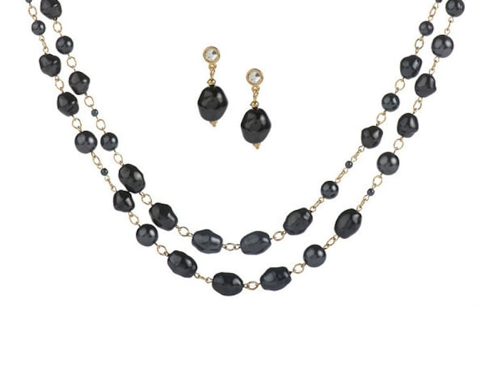 Jackie Kennedy Jewelry Set - Necklace, Earrings in Black Baroque Pearls - 2pc Nugget Set