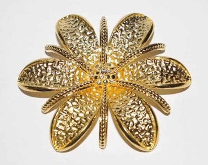 Joan Rivers Flower Brooch, Large Gold Pin - Gold Brooch - Crystal Brooch - S1268