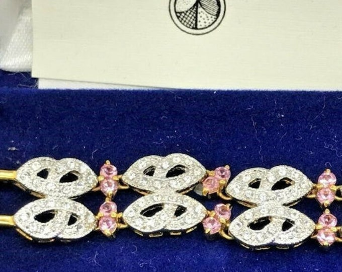 Jackie Kennedy Crystal Bracelet - Gold with Pink and Clear Stones - 296
