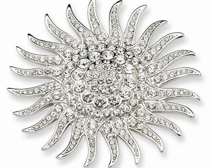Jackie Kennedy Sunburst Brooch Pin | Vintage Silver Crystal Pin Brooch - 48