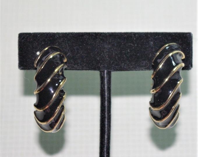 Joan Rivers Earrings - Black & Gold Clip On Earrings - S2495