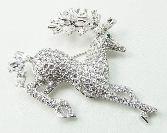 Nolan Miller Crystal Brooch - Silver Reindeer Pin with Crystals - S1364